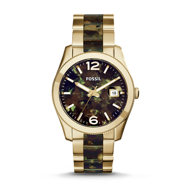 Perfect Boyfriend Camo Gold-Tone Stainless Steel Watch
