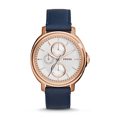 Chelsey Multifunction Navy Leather Watch