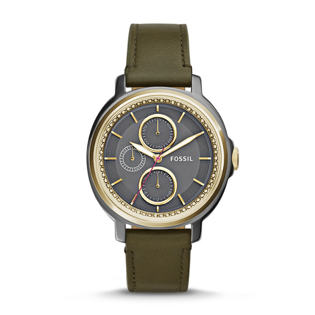 Chelsey Multifunction Olive Leather Watch
