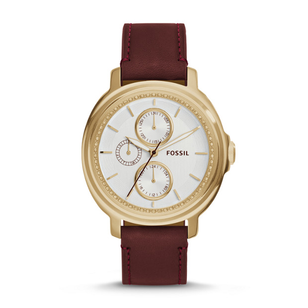 Chelsey Multifunction Maroon Leather Watch