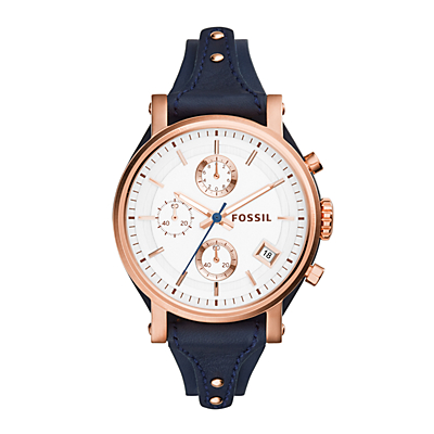 Original Boyfriend Chronograph Navy Leather Watch