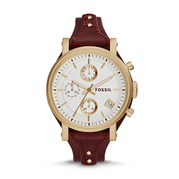 Original Boyfriend Chronograph Maroon Leather Watch