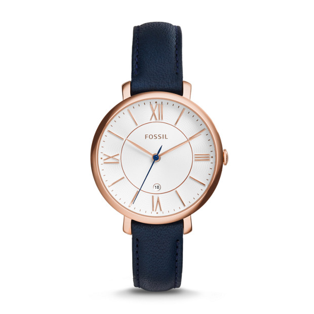 Jacqueline Navy Leather Watch