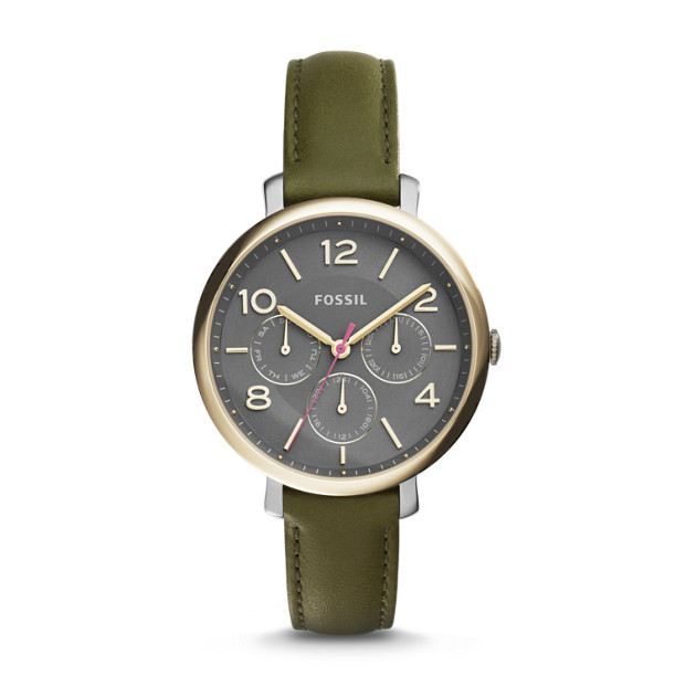 Jacqueline Olive Leather Watch