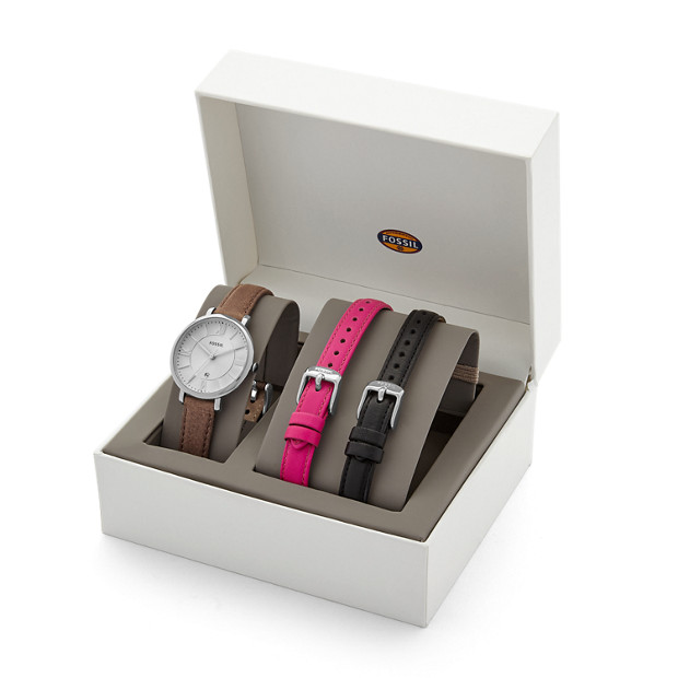Jacqueline leather watch box set fossil for Watches box
