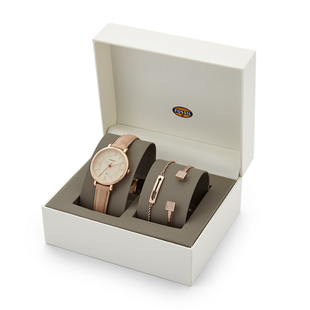 jacqueline leather watch and jewelry box set fossil. Black Bedroom Furniture Sets. Home Design Ideas