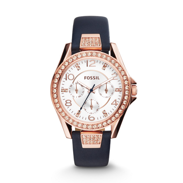 Riley Multifunction Blue Leather Watch