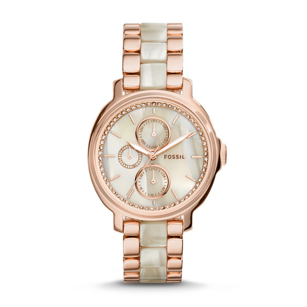Chelsey Multifunction Rose-Gold and Acetate Watch