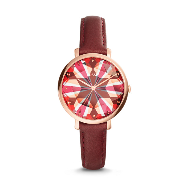 Jacqueline Red Leather Watch