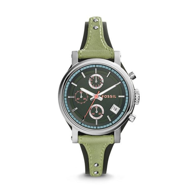 Original Boyfriend Chronograph Green Leather Watch