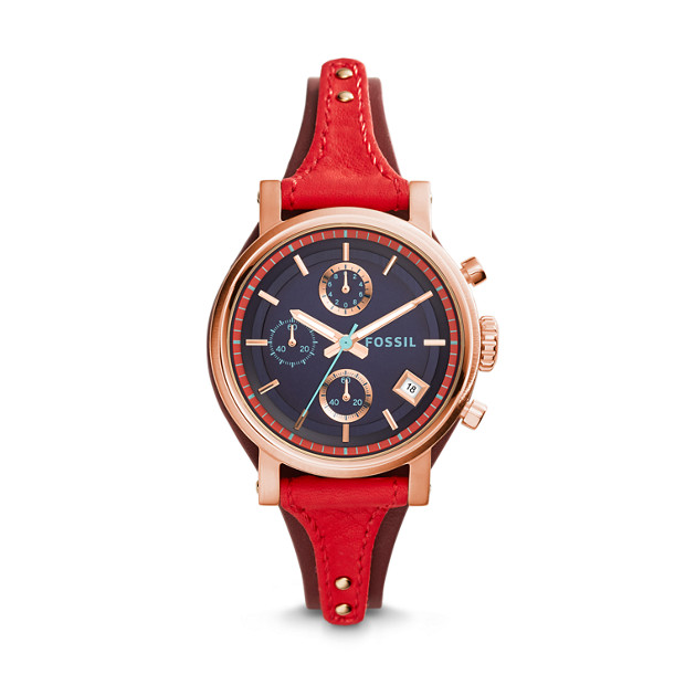 Original Boyfriend Chronograph Red Leather Watch