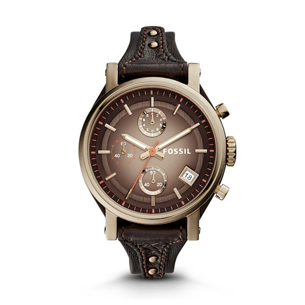 Original Boyfriend Chronograph Dark Brown Leather Watch