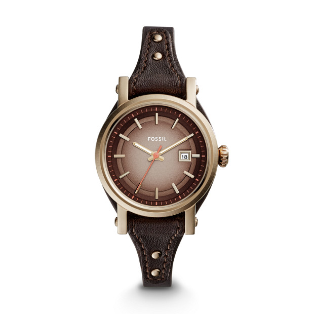 Small Original Boyfriend Date Dark Brown Leather Watch