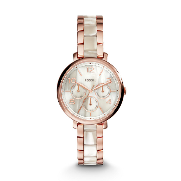 Jacqueline Multifunction Rose-Tone Stainless Steel and Acetate Watch