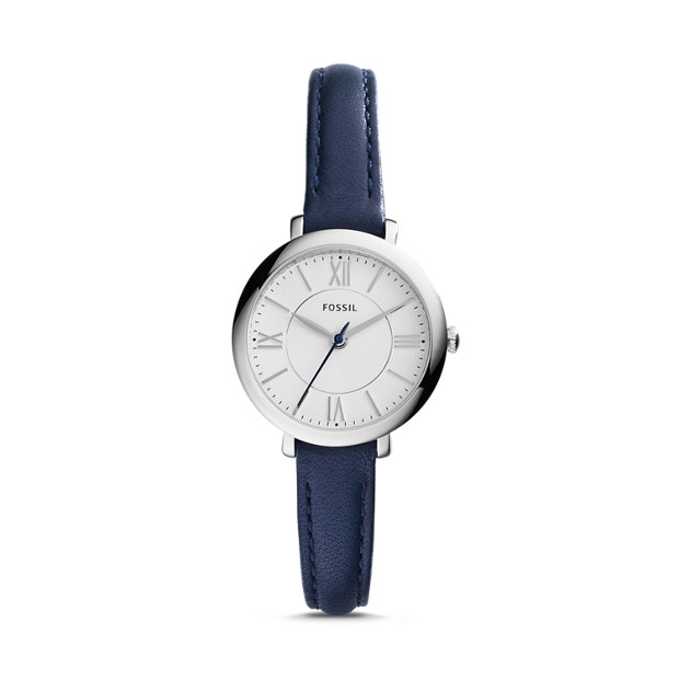 Mini Jacqueline Three-Hand Date Blue Leather Watch
