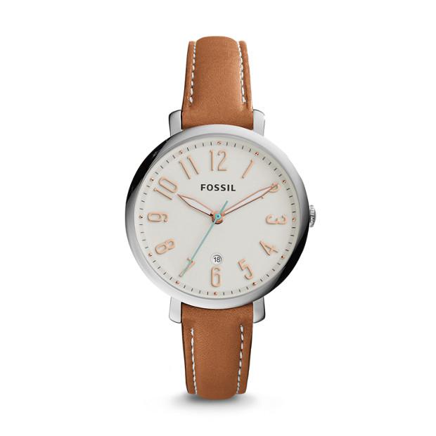 Jacqueline Three-Hand Date Dark Brown Leather Watch