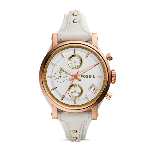 Original Boyfriend Chronograph White Leather Watch