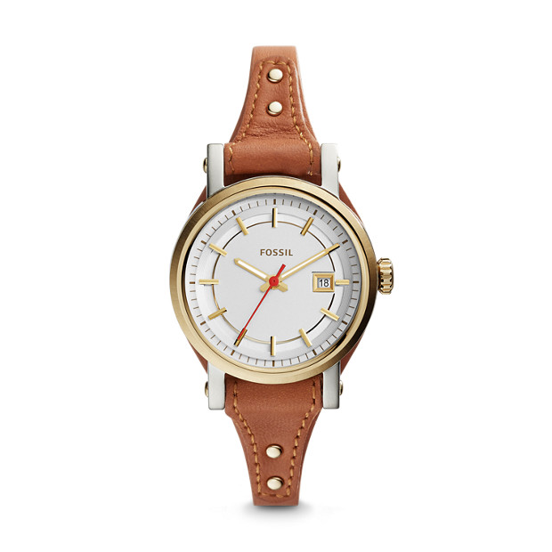 Mini Original Boyfriend Three-Hand Date Dark Brown Leather Watch