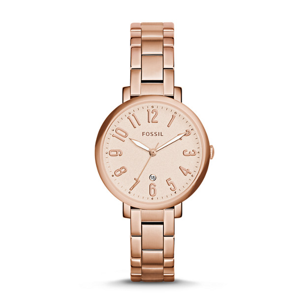 Jacqueline Date Rose-Tone Stainless Steel Watch