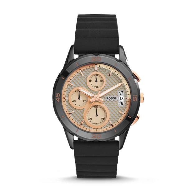 Modern Pursuit Chronograph Black Silicone Watch