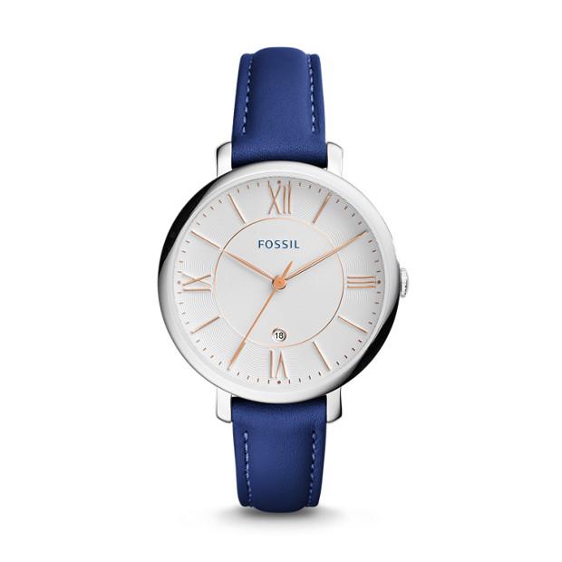 Jacqueline Date Indigo-Dyed Leather Watch