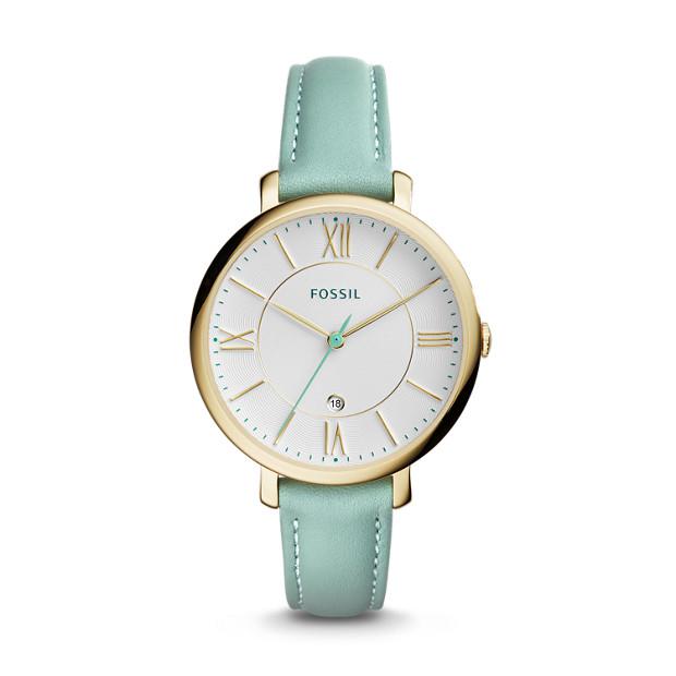 Damenuhr Jacqueline - Datum - Leder - Grün