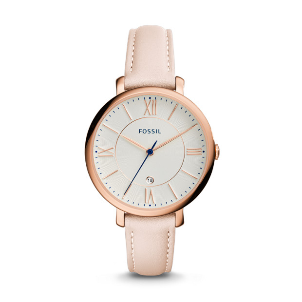 jacqueline date blush leather watch fossil