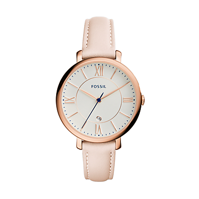 Jacqueline Date Blush Leather Watch