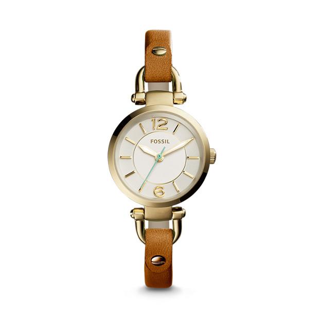 Georgia Mini Dark Brown Leather Watch