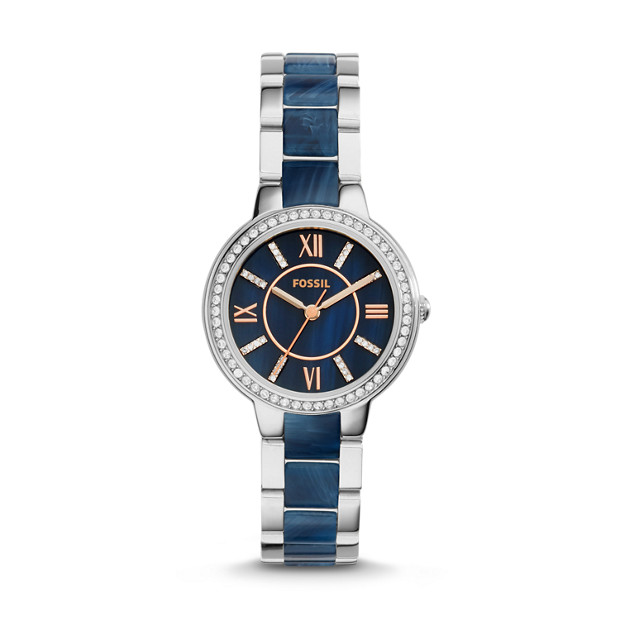 Virginia Stainless Steel and Blue Acetate Watch