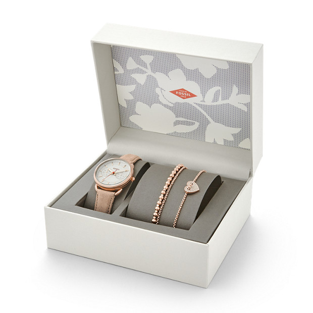 Tailor Multifunction Light Brown Leather Watch and Jewelry Box Set
