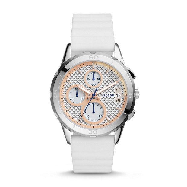 Damenuhr Modern Pursuit Chronograph Silikon Weiss Fossil