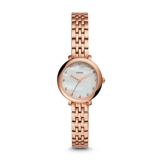 Jacqueline Mini Three-Hand Rose Gold-Tone Stainless Steel Watch