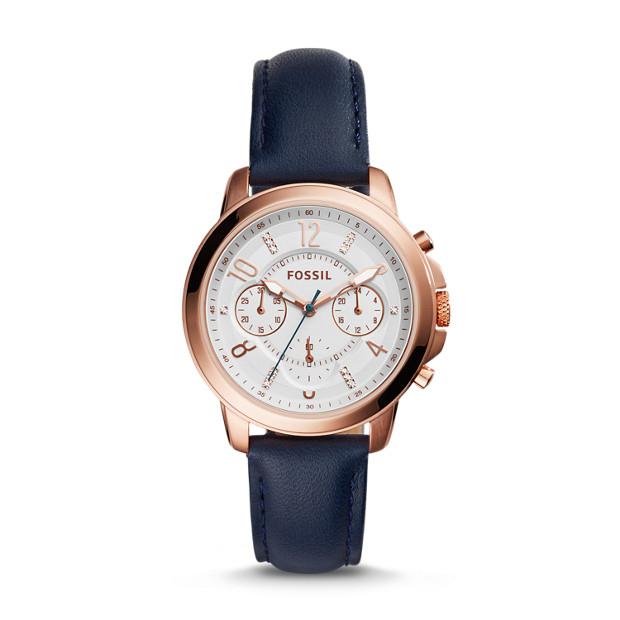 Gwynn Chronograph Indigo-Dyed Leather Watch