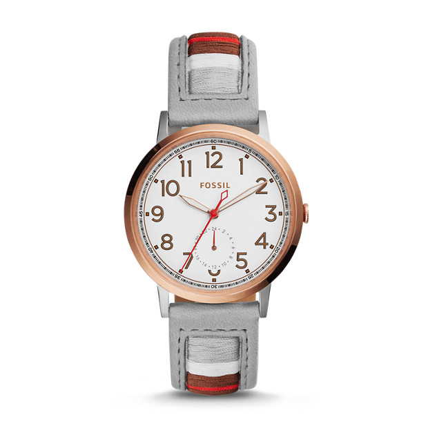 Everyday Muse Multifunction Striped Leather Watch