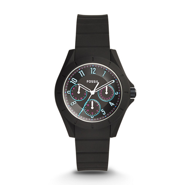 Poptastic Sport Multifunction Black Silicone Watch