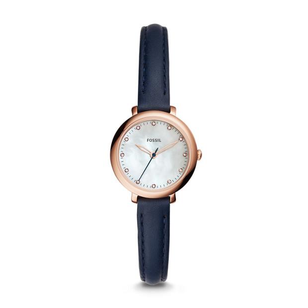 Jacqueline Mini Three-Hand Indigo-Dyed Leather Watch