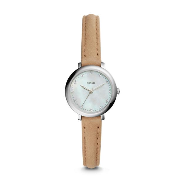 Jacqueline Mini Three-Hand Light Brown Leather Watch