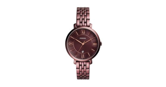 Jacqueline Three-Hand Date Wine Stainless Steel Watch - Fossil