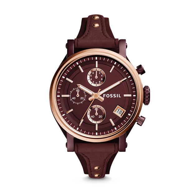 Original Boyfriend Sport Chronograph Wine Leather Watch