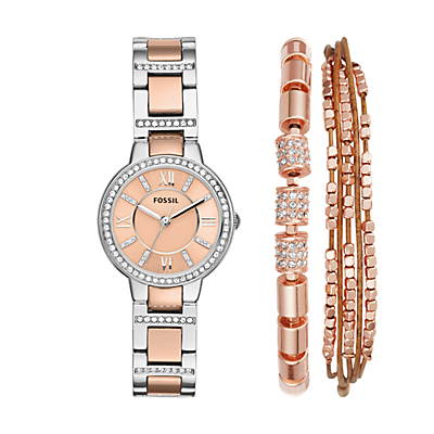 Virginia Three-Hand Two-Tone Stainless Steel Watch and Jewellery Box Set