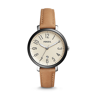Jacqueline Three-Hand Date Tan Leather Watch
