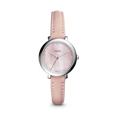 Jacqueline Three-Hand Blush Leather Watch