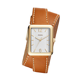 Atwater Three-Hand Luggage Leather Wrap Watch