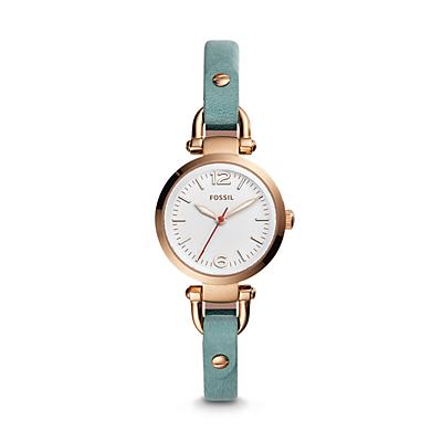 Georgia Mini Three-Hand Teal Leather Watch