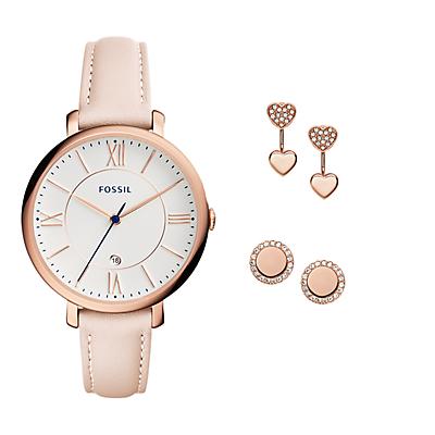 Jacqueline Three-Hand Date Blush Leather Watch and Jewellery Box Set