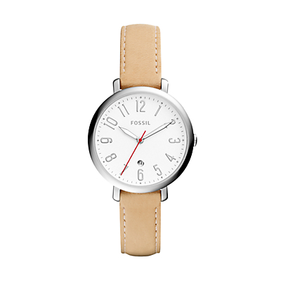 Jacqueline Three-Hand Date Vanilla Leather Watch
