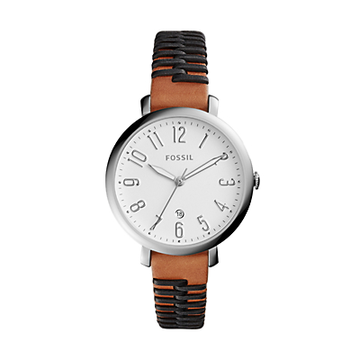 Jacqueline Three-Hand Date Two-Tone Leather Watch