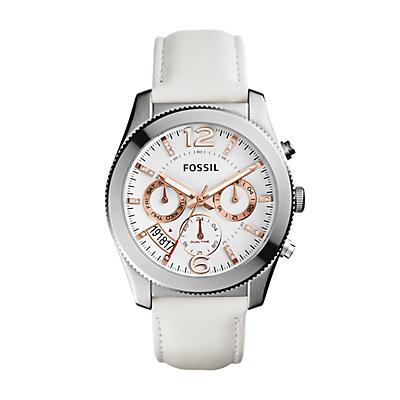 Perfect Boyfriend Sport Multifunction White Leather Watch