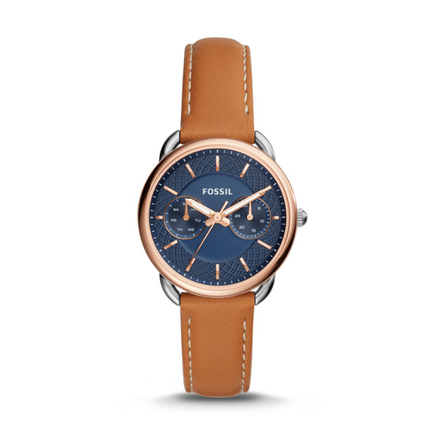 Tailor Multifunction Luggage Leather Watch Fossil